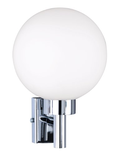 Klassisch designte Wandleuchte, Chrom mit weißer Glaskugel Ø 15cm, LOTA, Honsel-Leuchten 36611 -