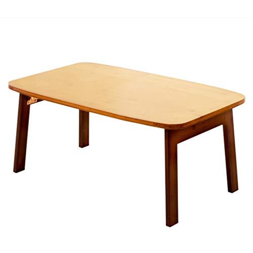 Tables basses Bambou Petite Mini Chambre Petit Appartement étude Balcon Salon créatif lit Table d'ordinateur Pliant (Color : Wood, Size : 80 * 50 * 34cm)