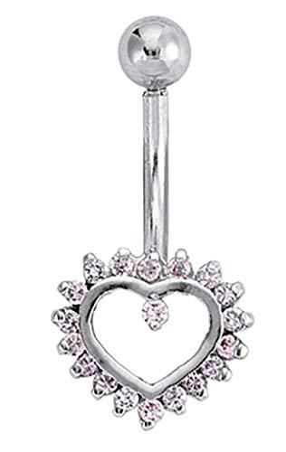 9ct Weiß Gold, offene Stil Herz, umgeben mit Pink Zirkonia