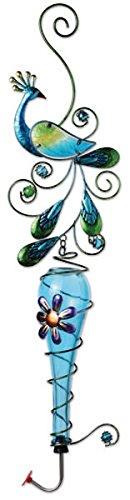 Sunset Vista Designs bunten Glas und Metall zum Aufhängen Kolibri Feeder, Pfau (Peacock Suncatcher)
