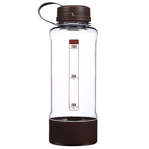 TXTTXT Isolierende Tasse Kunststoff Gürtel Filter Große Kapazität Tragbare Outdoor-Reisen Sportflasche 1500 ml Braun Thermosflaschen