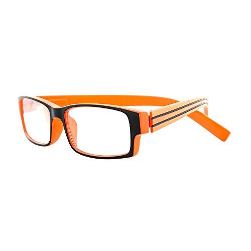 Michael Pachleitner Group Lesebrille Black Stripes inklusive Etui  / +3,00 Dioptrien / orange