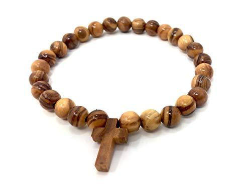 Armband mit Kreuz aus echten Olivenholz handgemacht auf Mallorca Holzschmuck Schmuck aus Olivenholz auch als Fußkette tragbar