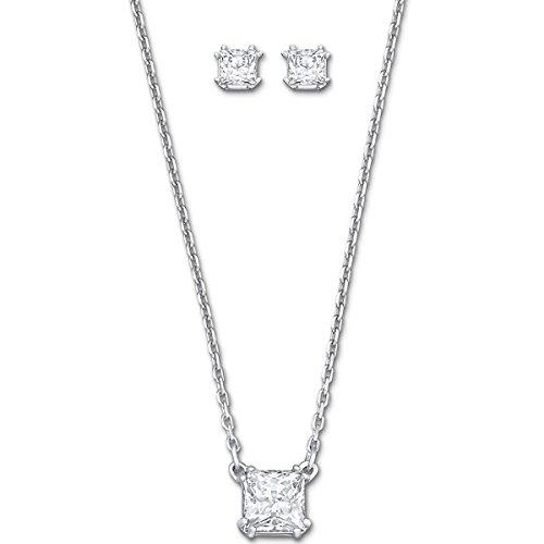 Swarovski Damen-Schmuckset Halskette + Ohrringe Attract Edelstahl Glas weiß - 5033022