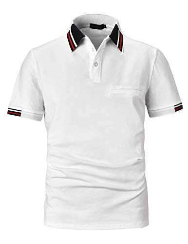 PIPIHU Herren Baumwolle Poloshirt Gerippte Basic Polohemd Kurzarm Golf Polo Shirt Weiß Large