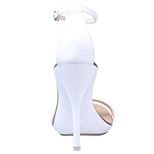 OCHENTA Femmes Talon Haut 10.5CM Sexy Lanières Bride Cheville Boucle Fête Soirée Mariage Sandales Blanc