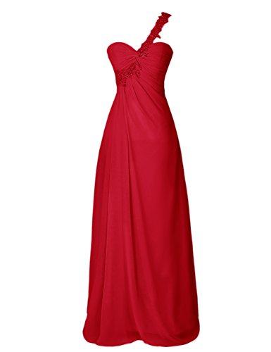 Dresstells, Robe de soirée Robe de cérémonie Robe de demoiselle d'honneur bustier en cœur épaule asymétrique dos nu Rouge Foncé