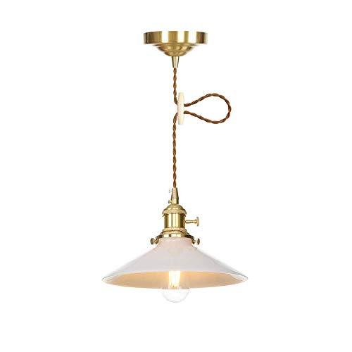 Industrielle Vintage Modern Edison-hängenden Anhänger Leuchte Decken Loft Bar Küche Kronleuchter dekorative Beleuchtung mit Schalter Klarglas Licht Schatten E27, Weiss -