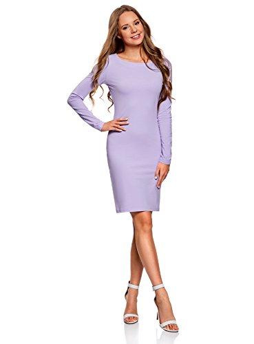 oodji Ultra Damen Enges Jersey-Kleid, Violett, DE 38 / EU 40 / M