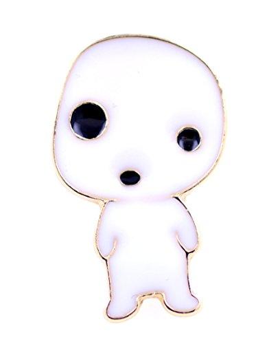 Lizzyoftheflowers Halloween-Brosche mit weißem Emaille-Geist, Brosche mit extraterrestrischer Alien-Motiv