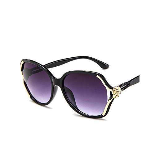 Sportbrillen, Angeln Golfbrille,NEW Flower Sunglasses Women Gradient Classic Vintage Ladies Oversized Sun Glasses UV400 Glasses Feminino Black Gray