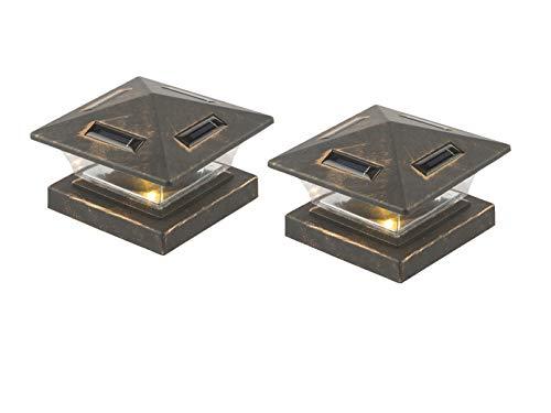 LED Gartenbeleuchtung im 2er SET - Solarlampen für Zaunpfosten, schwarz