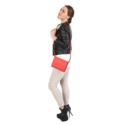 Trussardi Femme Cross-Body embrayage en dollars, en cuir de veau authentique 20x16x5 Cm Mod. 76B113M corail