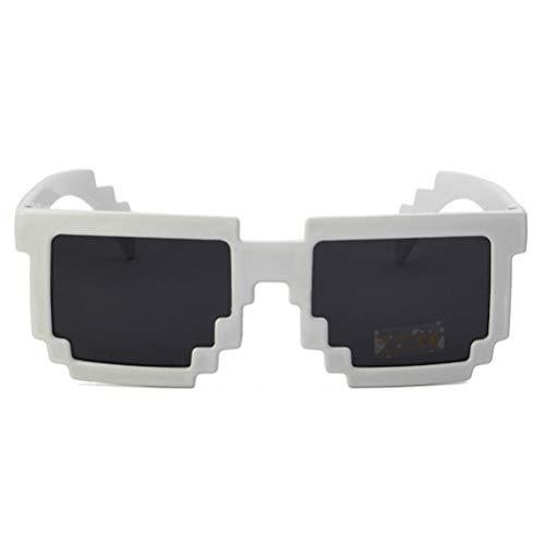 Heylas Retro Videospiel Pixel Sonnenbrille,Pixelbrille Sonnenbrille Mosaic Glasses Plaid Box Unisex-Sonnenbrille
