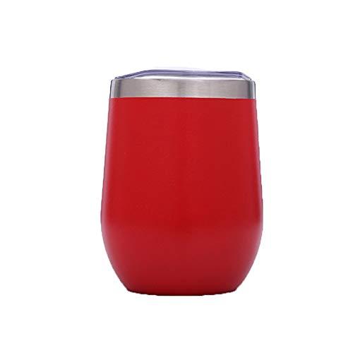 Zgzxd 4 pezzi bicchiere vino in acciaio inox senza calici con coperchio bicchiere infrangibile, tazza da viaggio per caffè, vino, cocktail, acqua, whisky, succo,acqua,red