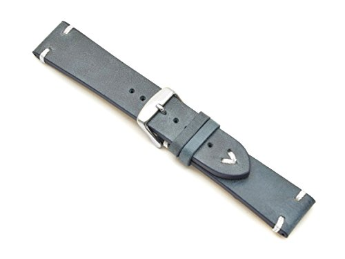 Lederband Weiße Naht 20mm Band Retro Look Quality Strap Marine Blau Blue Uhrband BS (Beläge Frauen Für)
