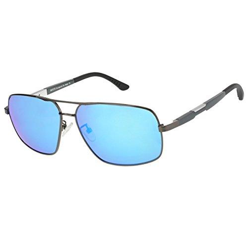DUCO Premium Sonnenbrille Retro Square Rechteckige Gestell Polarisierte Gläser 100% UV Schutz 3379 (Gunmetal/Blau)