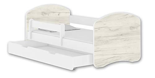Jugendbett Kinderbett mit einer Schublade mit Rausfallschutz und Matratze Weiß ACMA II 140 160 180 (140x70 cm + Schublade, Weiß - Eiche Weiß)