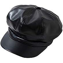 ZOODQ Sombrero de señora Beret Estilo francés para Mujer Estilo francés  clásico Boinas de Cuero Gorros 0d58ca7198f