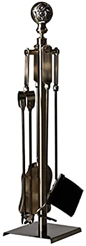 Spherical Brass-Coloured ALPERTEC Fireplace Tool Set Antique Iron 2Bells with Decorative Parts–Pack of 139011710