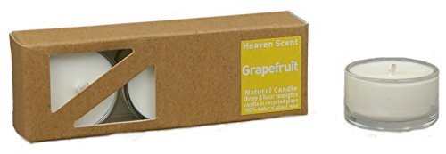 3x Beduftete Natural Grapefruit Plant Wax Tealights in recycled glass covers Pleasant...