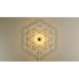 Wandleuchte Schattenbild Blume des Lebens - Holz Ornament - Porzellan Fassung - Deckenleuchte - Schatten Heilige Geometrie