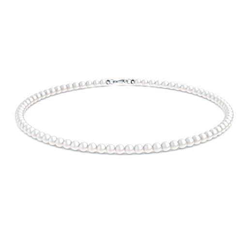 Brautkette Perlen Braut Perlenkette echte Perlen Zuchtperlen + inkl. Luxusetui + Perlenschmuck Braut Hochzeit Perlen Kette Damenkette Halskette kleine Perlen weiß Brautschmuck - FF366 SS925SWPE45 Perlen-halskette Spangen
