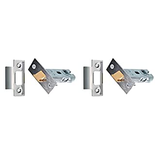 XFORT® 2 Sets of Tubular Latch, High Quality Mortice Latch, Door Latch Designed to be Used with Sprung Lever Door Handles, Fire Rated to EN1634-1 Standards (75mm, Polished Chrome) (2)