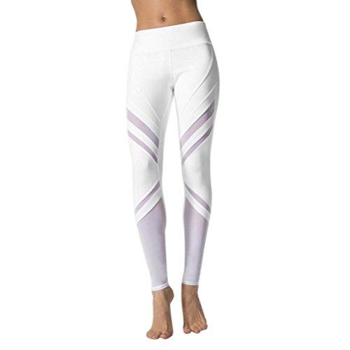 Damen Hosen,Binggong Frauen Mode Hohe Taillen Sport Gymnastik Yoga laufende Eignungs Gamaschen Hosen athletische Casual Pants Workout Leggings Strumpfhose Streifenmuster (Sexy Weiß, XL) (Shorts Frauen Athletisch)