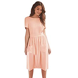JUTOO Women's Fashion Summer Casual Sexy Backless Button Solid Dress(Pink,Medium)