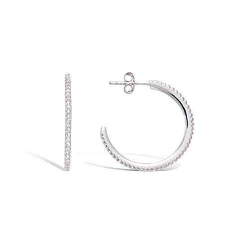 TATA Gisele orecchini Dennehotso mezzo orecchini a cerchio in argento rodiato 925/000e ossido di zirconio-Circolo tagliato anello 25mm-Bustina regalo in omaggio
