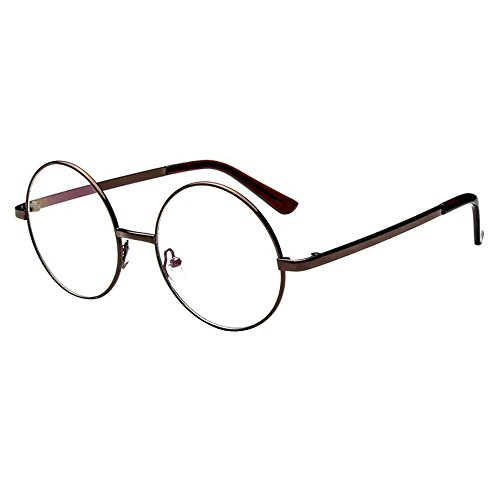 Forepin® Unisex Montatura Occhiali da Vintage Frame Metallo Struttura Vista Vetri Ottici Pianura Occhiali, Bronzo