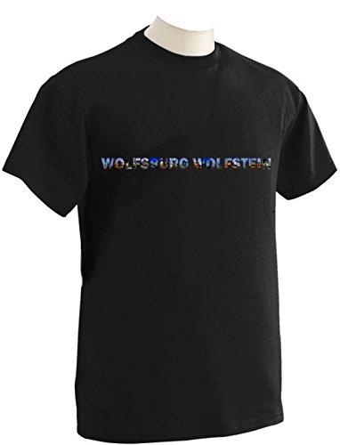 T-Shirt mit Städtenamen Wolfsburg Schwarz