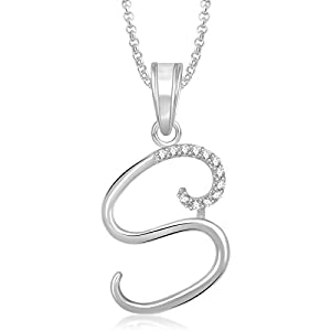 MEENAZ White Alloy Silver Plated 'S' Letter Alphabet Pendant with Chain for Men