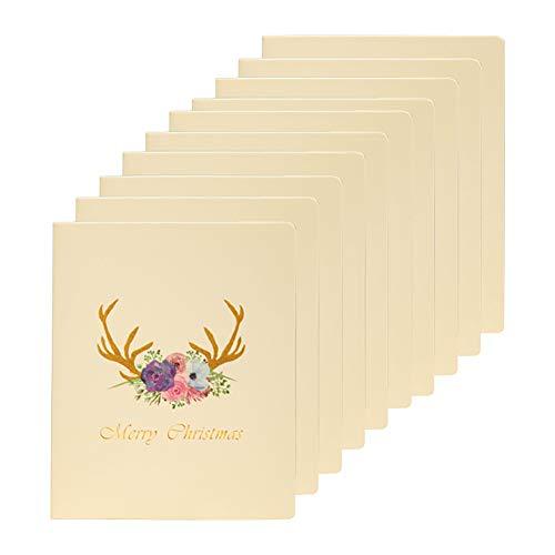Milnut Weihnachtskarten Set, 10 Stück, Beige Faltende Gruß-Karte Weihnachten/Danksagung Jahr Wünschen Karte Danke Zu Kardieren - Mehrfache Entwürfe