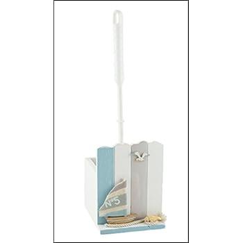 53019 Nautical Seaside Theme Toilet Brush Holder with Yacht