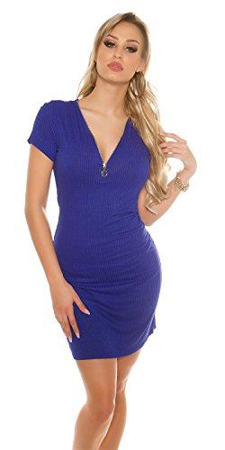 Damen kurzarm Kleid Minikleid Sommerkleid Stretchkleid Sweatkleid mit Zip Strass Blau