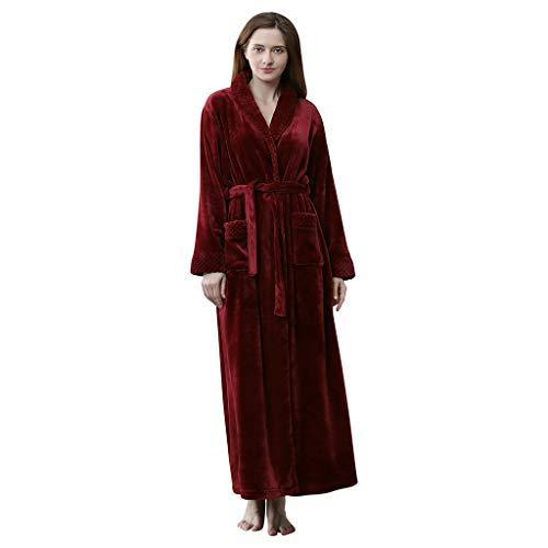 Longra Kimono Vestaglia Lunghe Unisex Donna Uomo Pigiami Famiglia Accappatoio da Coppia in Velluto Spesso Camicia da Notte Vestaglie Kimono Bathwear Robe Accappatoio