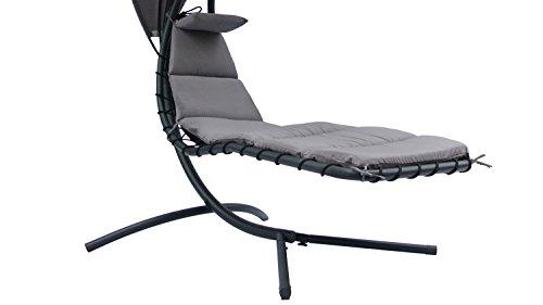 Möbel Akut Schwingliege Marbella schwebender Relax Hängesessel mit Sonnendach in anthrazit