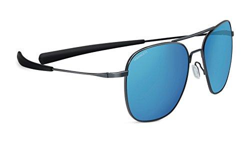 Serengeti, occhiali da sole da aviatore polarizzati 555nm, unisex, occhiali da sole, aerial polarized 555nm, shiny dark gunmetal/blue, m/l