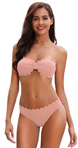 SHEKINI Damen Einfarbig Laciness Bikini Set Split Badeanzug Mit Neckholder Wickel-BH Bikini Oberteil Und Sexy Laciness Bikinihose Zweiteilige Geteilter Strandkleidung (L, Rosa) (Swimwear Bikini Ujena)