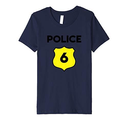 Kinder Kinder Polizei Kostüm 6th Birthday T-Shirt–Sixth Sechs -