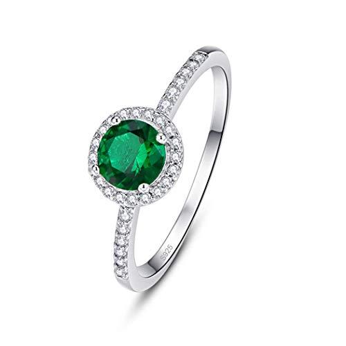 Runder 6 * 6 mm Smaragd Ring 925 Sterling Silber Edelstein Cut Ringe Inlay mit Zirkonia (60 (19.1))