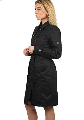 DESIRES Thea Damen Trenchcoat Mantel lange Jacke mit Gürtel und Umlege-Kragen Black (9000)