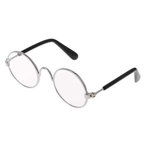 Runrain Haustier-Glas-Kostüm-Sonnenbrille-runde lustige Mode-Props-Hundekatzen-Versorgungsmaterial-Produkte (Silber (Weiß/Transparente Linse))