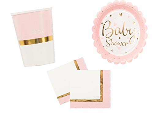 PS Party Deko Set Baby Party Mädchen rosa Gold 48 teilig bis 16 Personen Baby Shower Party Party Geschirr
