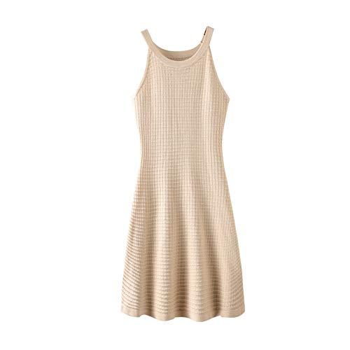 UOYJN Woman Dress Camisole Skirt Female Vintage Halter Strapless Slim Slim Mid-Length Knit Dress Summer
