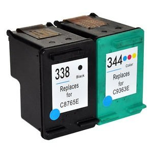 Prestige cartridge compatibile hp 338 / hp 344 2x cartucce d'inchiostro per stampanti hp photosmart/deskjet/officejet serie, nero/colore