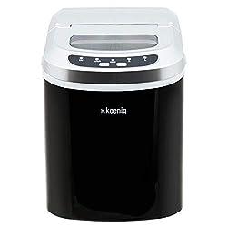 H.Koenig KB12 Eiswürfelmaschine / Eismaschine / 12kg Eiswürfel / Produktionszeit 6 - 12 Minuten / 2 Eiswürfel-Größen / ohne Wasseranschluss / 90 W / Edelstahl / schwarz