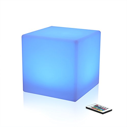 Anaelle Pandamoto Cubes LED Pouf Tabouret Table Basse en Polyéthylène Lumineux Multicolore + Rechargeable Télécommande 16 Couleurs, Intérieur- Extérieur, Taille: 43 x 43 x 43cm, Poids:5.5kg